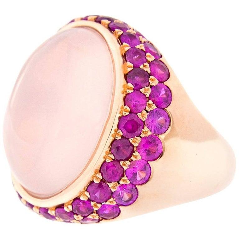 Cabochon Rose Quartz, Pink Sapphire Gold Cocktail Ring For Sale