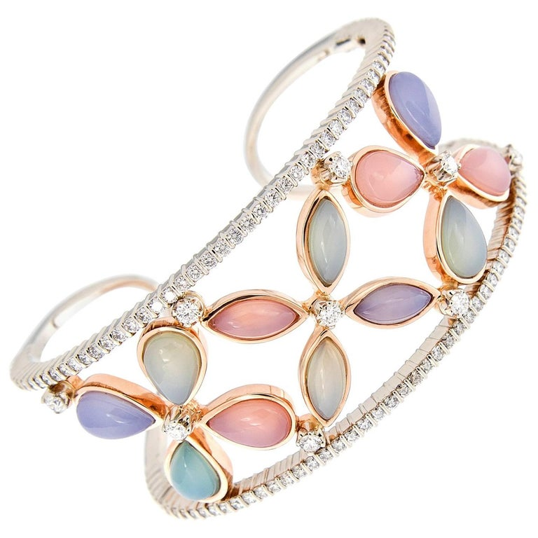 Chalcedony Diamond Wide Cuff Gold Bracelet For Sale