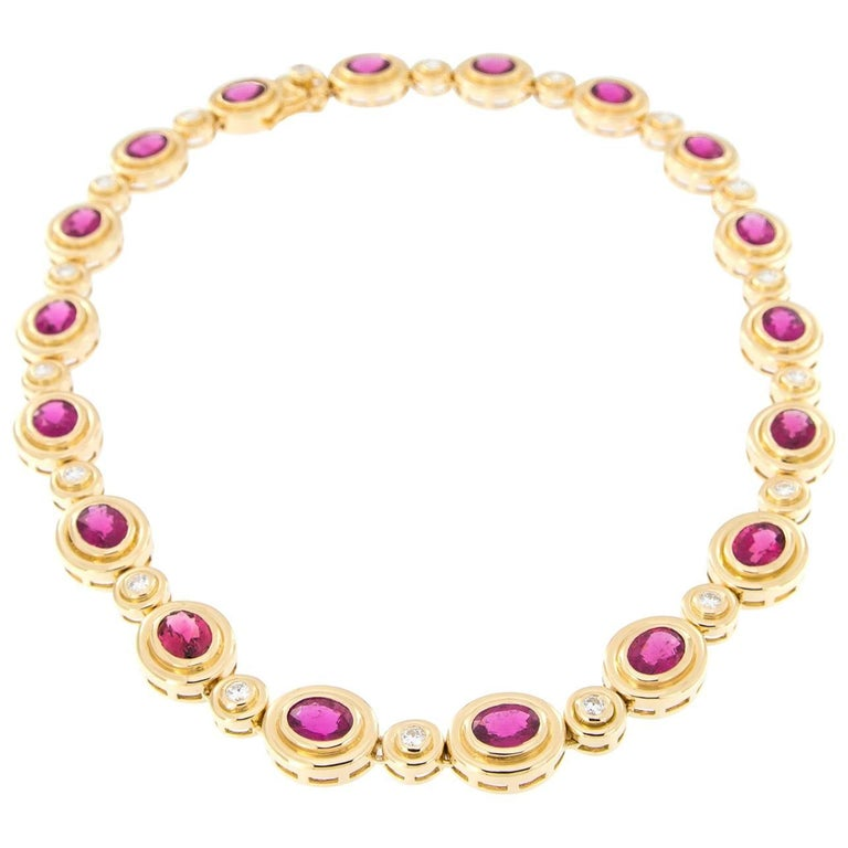 Rubelite Diamond Yellow Gold Statement Necklace For Sale
