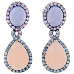 Chalcedony and Rose Quartz Sapphire Double Drop Earrings