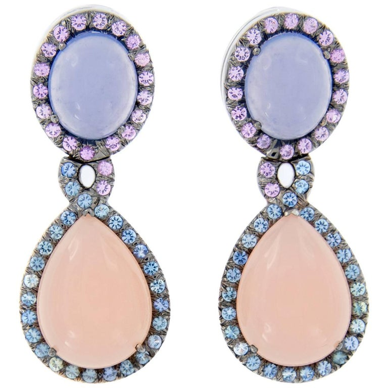 Chalcedony and Rose Quartz Sapphire Double Drop Earrings For Sale