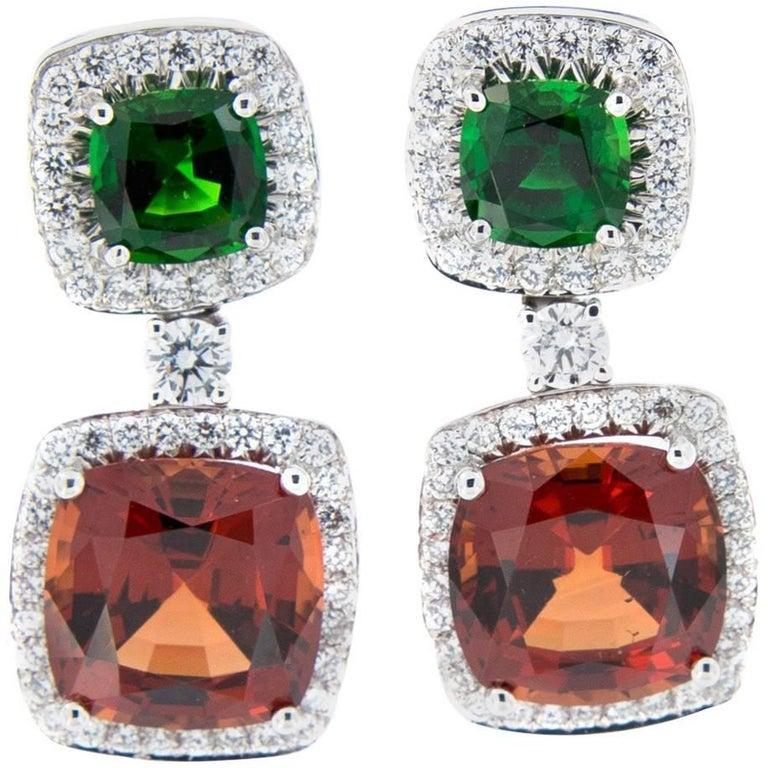 White Gold Pave Diamond Drop Earrings with Malaya Garnet and Tourmaline For Sale