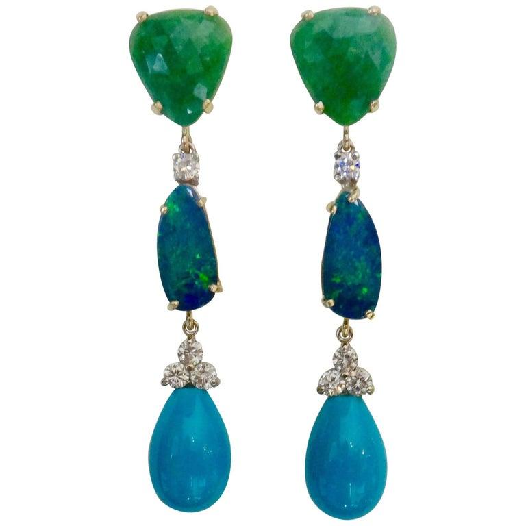 Michael Kneebone Emerald Boulder Opal Sleeping Beauty Turquoise Dangle Earrings