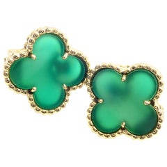 Van Cleef & Arpels Vintage Alhambra Green Chalcedony Yellow Gold Earrings