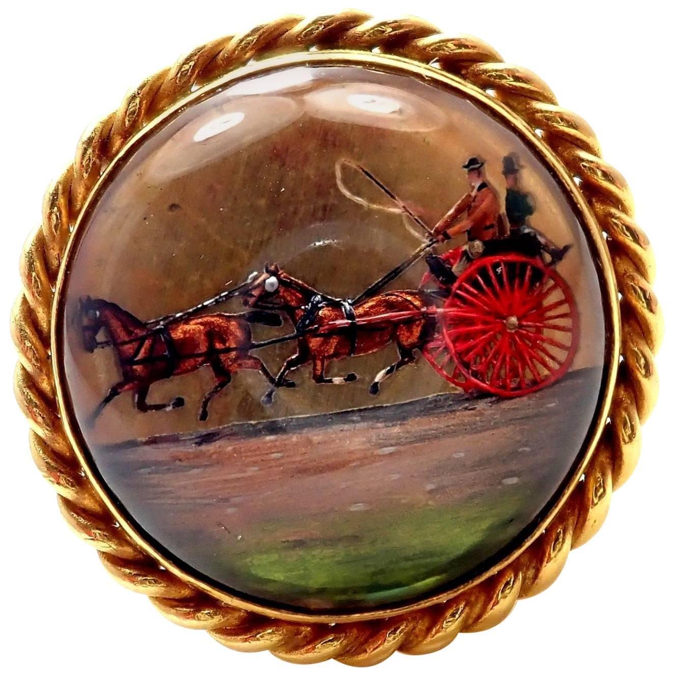 Victorian Essex Crystal Reverse Intaglio Gold Horse Ring