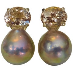 Michael Kneebone Morganite Kasumi Pearl Stud Earrings