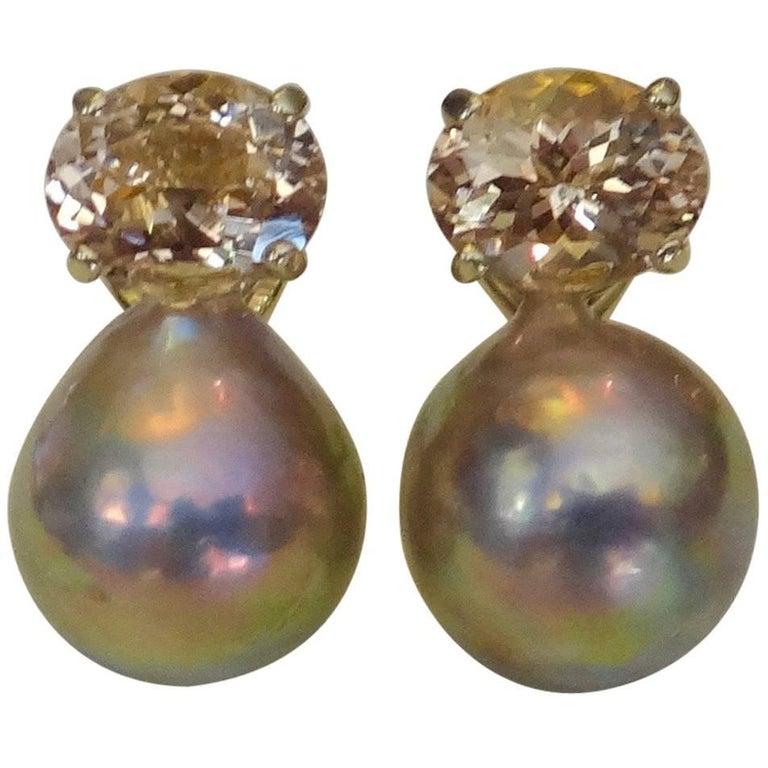 Michael Kneebone Morganite Kasumi Pearl Stud Earrings