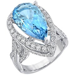 7.12 Carat Pear Shaped Aquamarine Diamond White Gold Cocktail Ring
