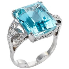 Emerald Cut Aquamarine and Diamond Platinum Ring