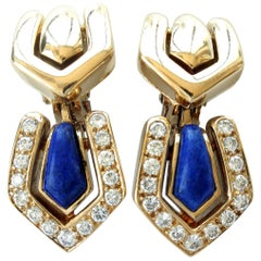 Boucheron Lapis Diamond Gold Earrings