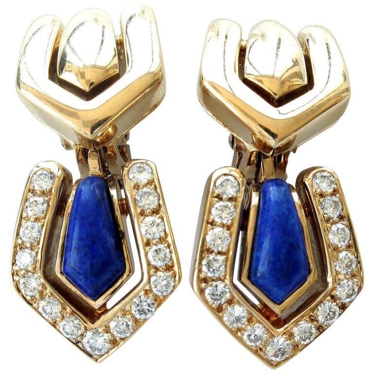 Boucheron Lapis Diamond Gold Earrings