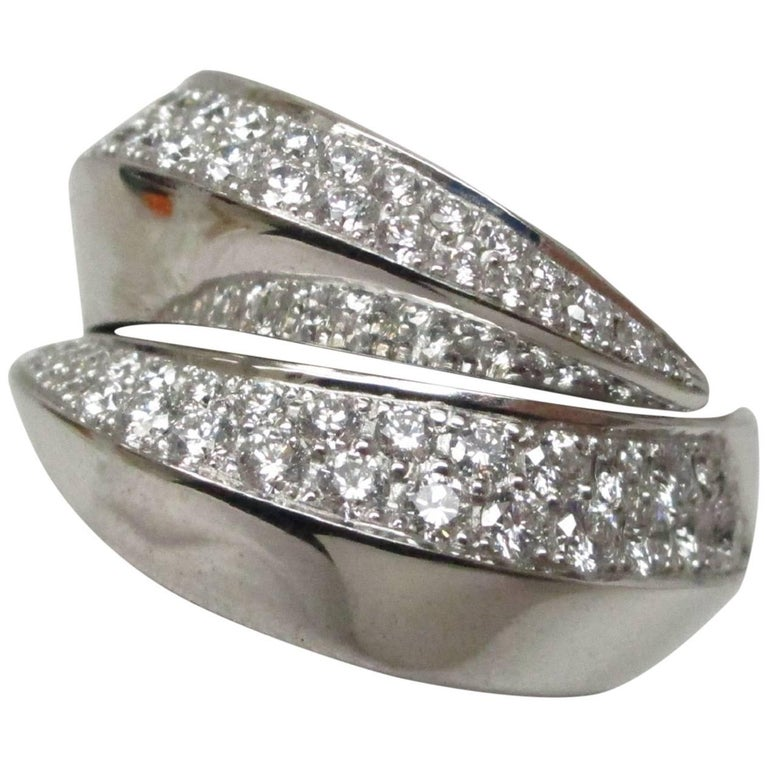 Cartier 18 Karat White Gold and Diamond Bypass Panthere Ring