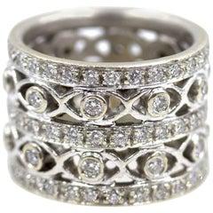 Doris Panos Diamond 18 Karat White Gold Wide Band Ring
