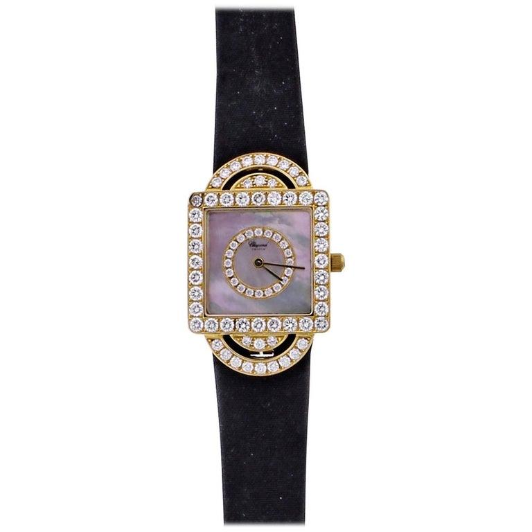 Chopard Ladies Yellow Gold Diamond Classique Quartz Wristwatch For Sale