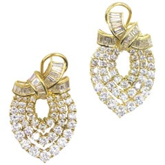 10 Carat Diamond 18 Karat Yellow Gold Drop Earrings