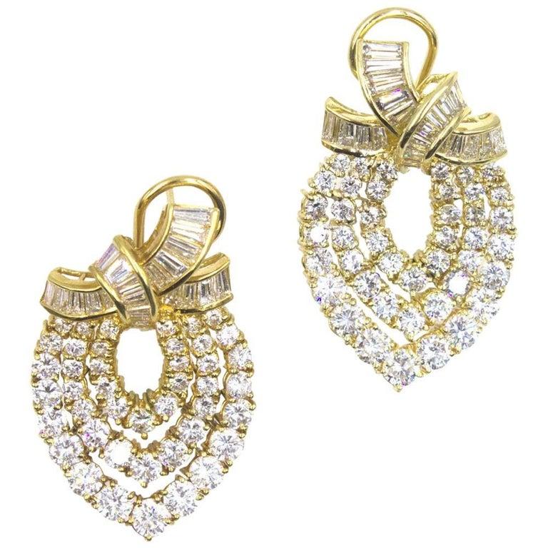 10 Carat Diamond 18 Karat Yellow Gold Drop Earrings