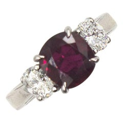 3.04 Carat Cushion Ruby Diamond Three-Stone Ring GIA Certificate