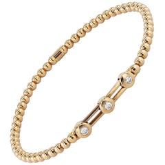 Moveable 0.15 Carat Bezel-Set Diamond Bead Bracelet