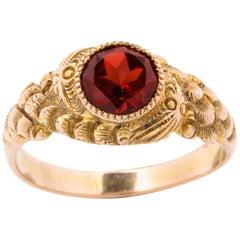Antique Victorian Garnet Double Serpent Ring