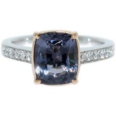 Lizunova Grey Spinel & Diamond 18k White & Rose Gold Bridal Engagement Ring