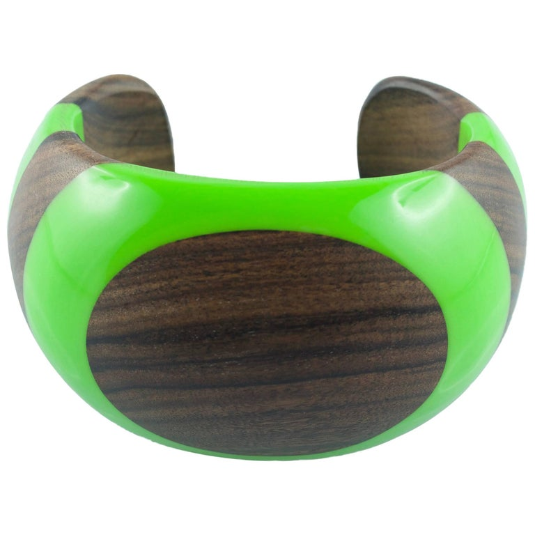 Wood and Green Methacrylate Cuff Bracelet