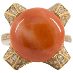 Coral 0.60 Carat Diamond Yellow Gold Cocktail Ring
