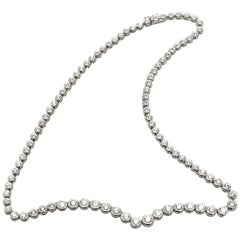 7.00 Carat Diamond Platinum Tube Set Tennis Necklace