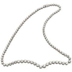 7.00 Carat Diamond Platinum Tube Set Tennis Necklace