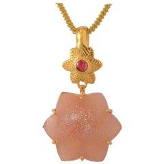 Emma Chapman Peach Moonstone Ruby Gold Plate Pendant