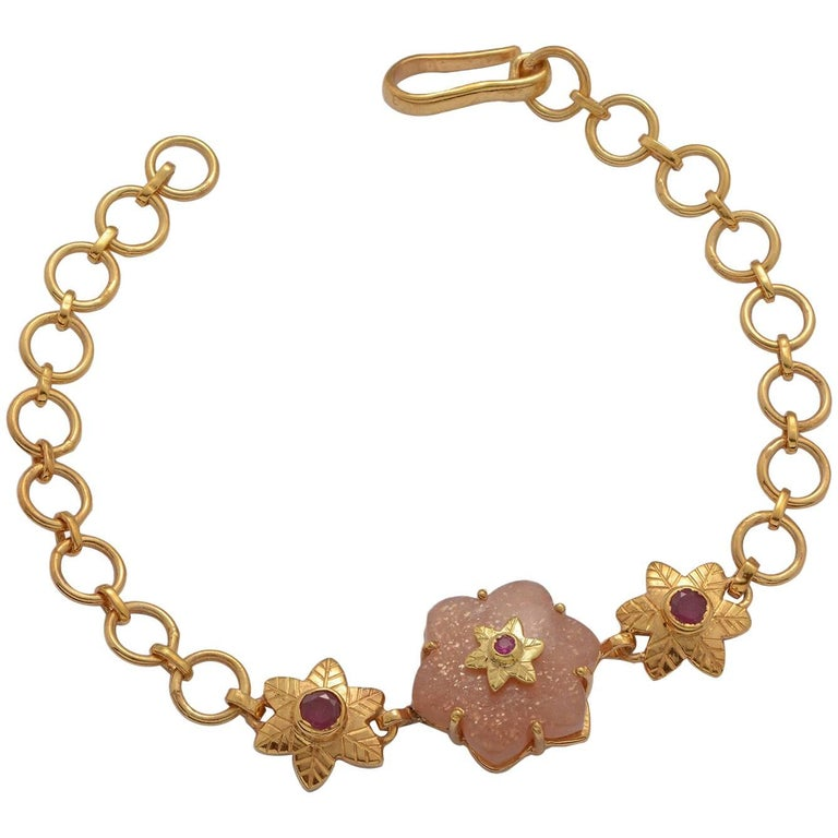 Emma Chapman Peach Moonstone Ruby Gold Plate Bracelet