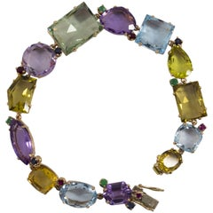 1.40 Carat Emerald Ruby Sapphire Amethyst Topaz Citrine Yellow Gold Bracelet