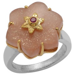 Emma Chapman Peach Moonstone Ruby Gold Plate Ring
