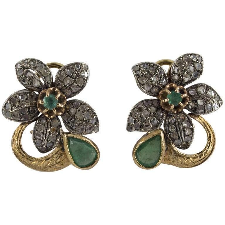 2.0 Carat Emerald 0.60 Carat Diamond Yellow Gold Clip-On Flowers Earrings