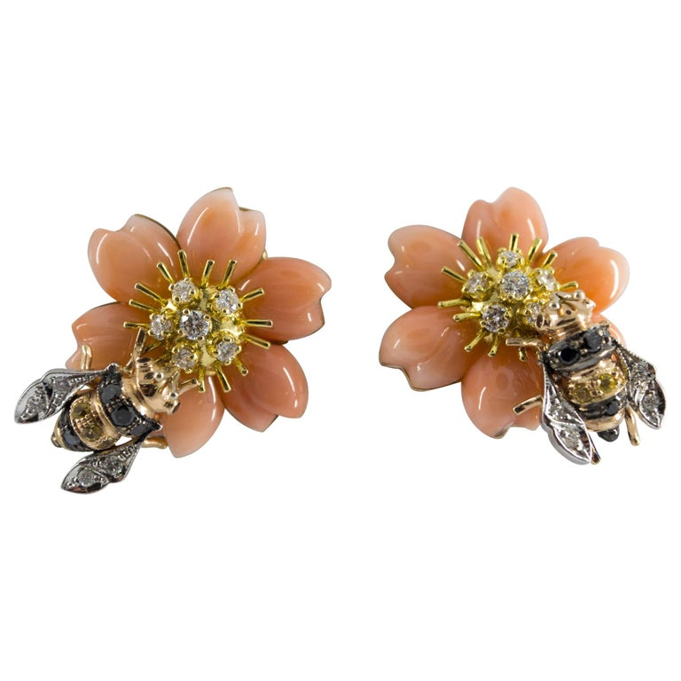 """Pink Coral Yellow Sapphire Diamond Yellow Gold """"Bee on Flower"""" Clip-On Earrings"""