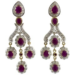 10.00 Carat Ruby 1.30 Carat Diamond Yellow Gold Stud Earrings
