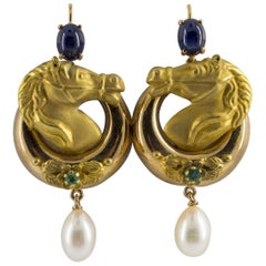 "Pearl 2.30 Carat Emerald Blue Sapphire Yellow Gold Stud Drop ""Horses"" Earrings"
