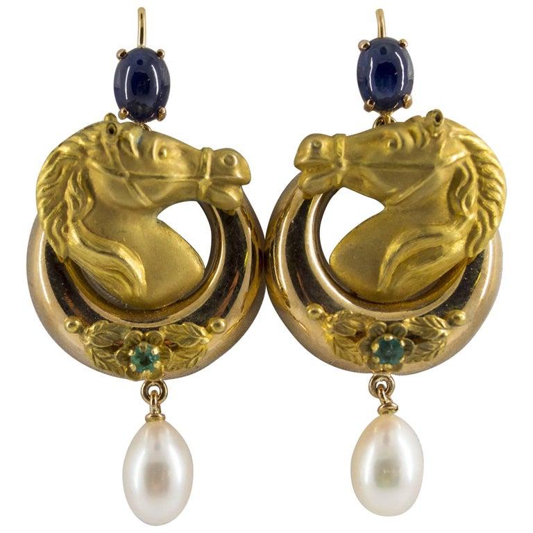 "Pearl 2.30 Carat Emerald Sapphire Yellow Gold Stud ""Horses"" Earrings"