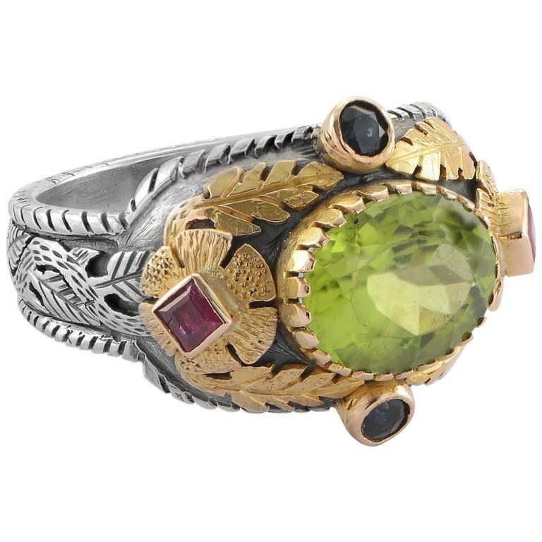 Emma Chapman Peridot Blue Sapphire Ruby Yellow Gold Ring