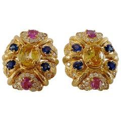 Bulgari Sapphire Gold Earclips