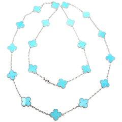 Van Cleef & Arpels Vintage Alhambra Turquoise 20 Motif White Gold Necklace