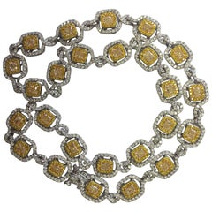 Canary Yellow Diamond and White Diamond Necklace in 18 Karat