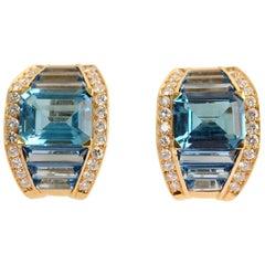 H. Stern Blue Topaz and Diamond Earrings