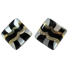 Asch Grossbardt 14 Karat Gold, Diamond, Black Onyx and Mother-of-Pearl Ear Clips