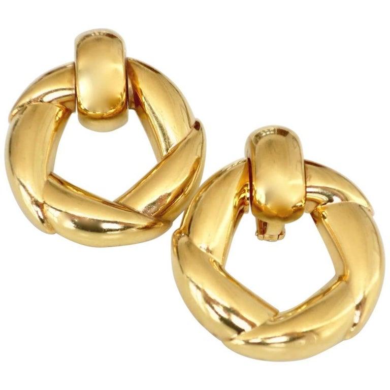 Vintage Cartier Gold Door-Knocker Earrings