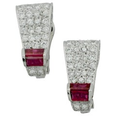 1940s Platinum and Gold Ruby and Diamond Earrings