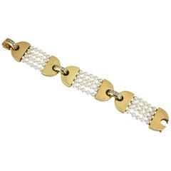 Vintage La Triomphe Gold Diamond and Pearl Bracelet, 1970s