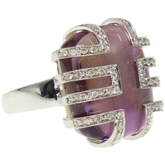 Deco Amethyst Diamond Cocktail Ring