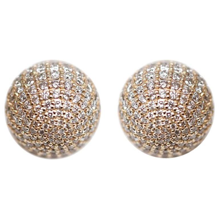 Diamond Ball Earrings For