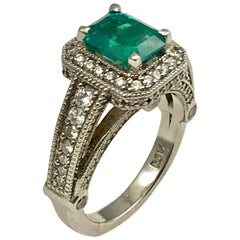 1.56 Carat Colombian Emerald Cocktail Ring Set in 14 Karat White Gold