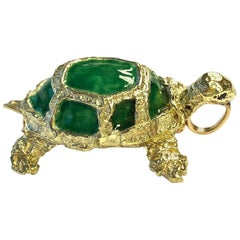 Vintage Enamel and Gold Turtle Pin Pendant